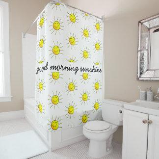 Gutenmorgen-Sonnenschein! Niedlich; Gelb auf Weiß Duschvorhang