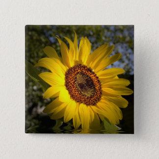Gutenmorgen-Sonnenschein-Sonnenblume-Knopf Quadratischer Button 5,1 Cm
