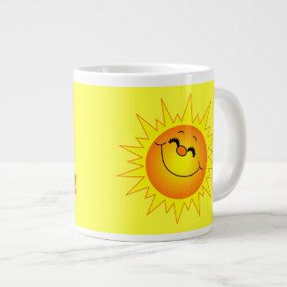 Gutenmorgen-Sonnenschein-Tunnel-bohrwagenschale Extragroße Tasse