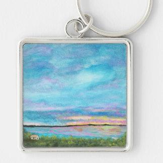 Gutenmorgen von der ursprünglichen abstrakten Male Silberfarbener Quadratischer Schlüsselanhänger