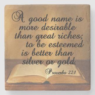 Guter Name des Sprichwort-22:1 A ist Steinuntersetzer