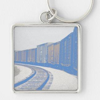Güterzug Silberfarbener Quadratischer Schlüsselanhänger