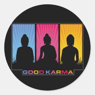 Gutes Karma Buddhas Runder Aufkleber