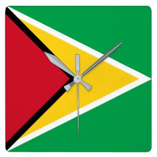 Guyana-Flagge Quadratische Wanduhr