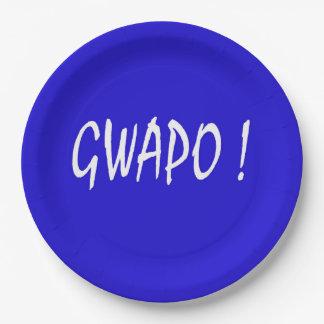 gwapo Text hübsches Tagalog-Filipino cebuano Pappteller