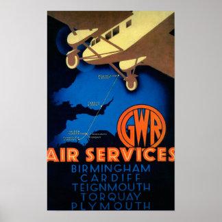 GWR Fluglinienverkehre Vintages PosterEurope Plakat