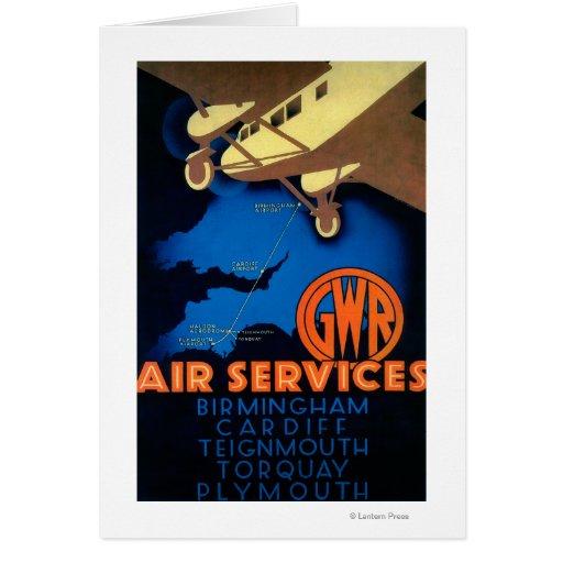 GWR Fluglinienverkehre Vintages PosterEurope Grußkarte