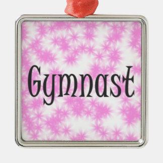 Gymnast Quadratisches Silberfarbenes Ornament