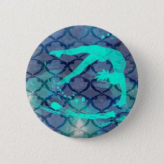 Gymnast-Stammes- Muster-Blau Runder Button 5,7 Cm