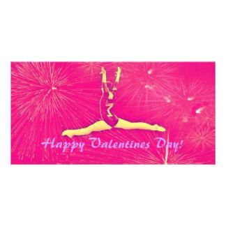 Gymnast-Valentinstag-Fotokarte Foto Karte