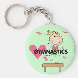 GYMNASTIK - blonde Mädchen-Schwebebalken-T-Shirts Schlüsselanhänger