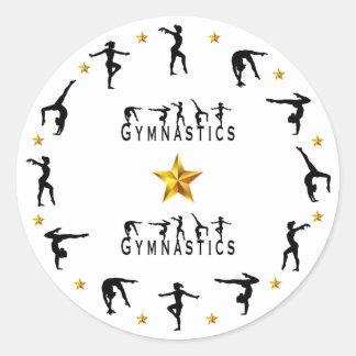 Gymnastik, Frau, Goldsterne Runder Aufkleber