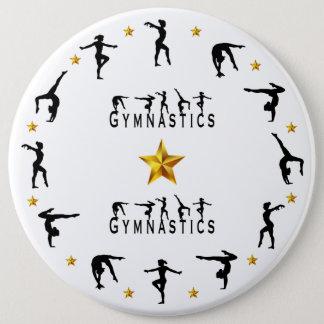 Gymnastik, Frau, Goldsterne Runder Button 15,3 Cm