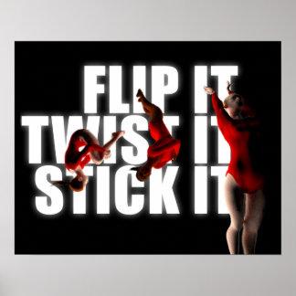 Gymnastik-Inspiration, FLIP-TWIST-STICK ES Poster