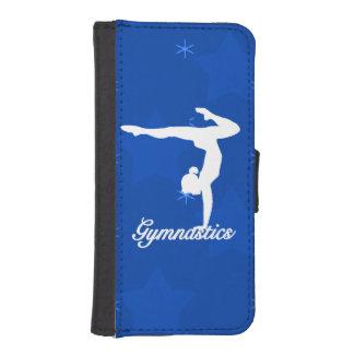 Gymnastik-Mädchen-blaue Sterne iPhone SE/5/5s Geldbeutel