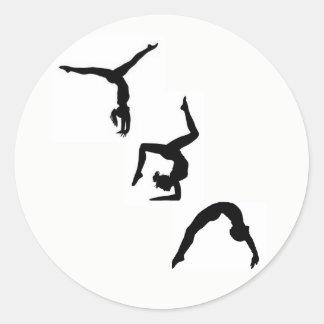 Gymnastik-Silhouette-Aufkleber Runder Aufkleber