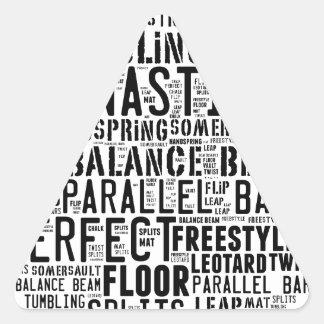 Gymnastik-Wort-Wolke Dreieckiger Aufkleber