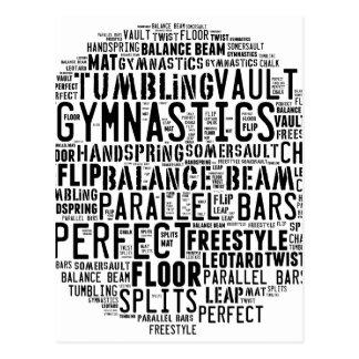 Gymnastik-Wort-Wolke Postkarte