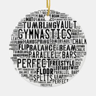 Gymnastik-Wort-Wolke Rundes Keramik Ornament