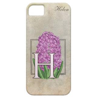 H für Hyazinthen-Blumenmonogramm iPhone 5 Schutzhülle