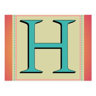 H-MONOGRAMM-BUCHSTABE POSTKARTE