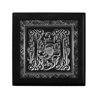 H-Monogramm Masselli silberner dekorativer Kasten Geschenkbox