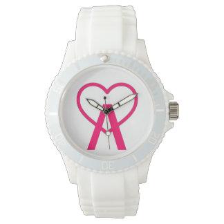 H&W weiße A~Heart Uhr