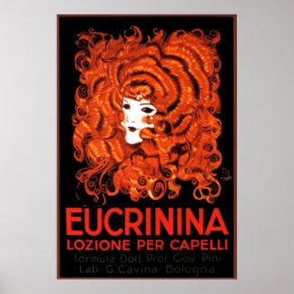 Haar-Lotion, Italien, Eucrinina Vintage Werbung Poster