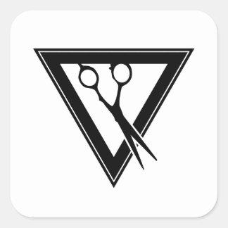 Haar scissors Dreieck Quadratischer Aufkleber