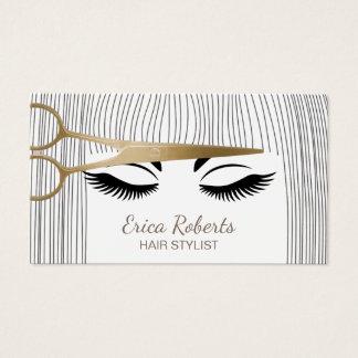 Haar-Stylist-Gold Scissor u. Mädchen-Haar-Salon Visitenkarte