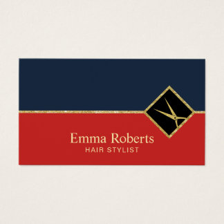 Haar-Stylist-Marine-Blau-u. Rot-Gold Scissor Salon Visitenkarten