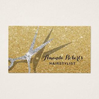 Haar-Stylist-moderner GoldGlitzer-Haar-Salon Visitenkarte