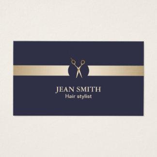 Haar-Stylist-nobles Blau u. Gold modern Visitenkarte