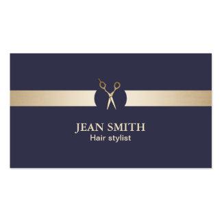 Haar-Stylist-nobles Blau u. Gold modern Visitenkarten
