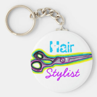Haar-Stylist schier Keychain Standard Runder Schlüsselanhänger