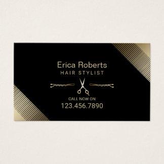Haar-Stylist-Schönheits-Salon-modernes Schwarzes Visitenkarte