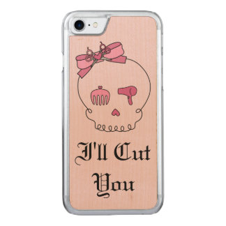 Haar-zusätzlicher Schädel (Bogen-Detail-Rosa mit Carved iPhone 8/7 Hülle