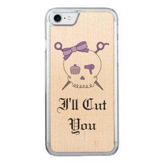 Haar-zusätzlicher Schädel u. Scheren (lila Version Carved iPhone 8/7 Hülle