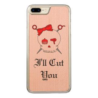 Haar-zusätzlicher Schädel u. Scheren (rote Version Carved iPhone 8 Plus/7 Plus Hülle