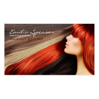 Haarschnitt-Stylist-lange rote Visitenkarten Vorlagen