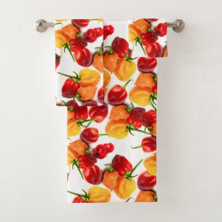 Habanero-Paprika-rote Paprikaschoten-orange heiße Badhandtuch Set