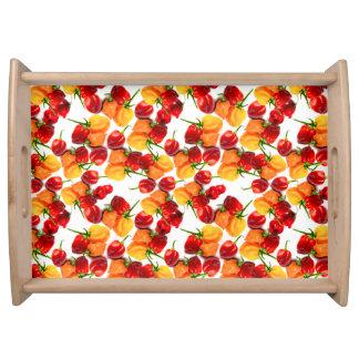Habanero-Paprika-rote Paprikaschoten-orange heiße Tablett