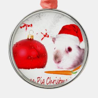 Haben Sie ein Meerschweinchen-Weihnachten Rundes Silberfarbenes Ornament