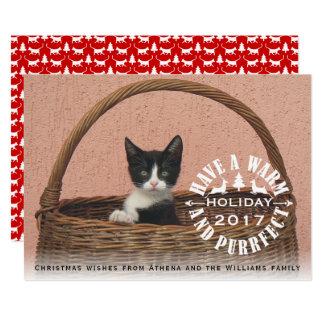 Haben Sie ein warmes und purrfect Feiertags-Katze 12,7 X 17,8 Cm Einladungskarte
