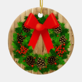 Haben Sie eine Land-Weihnachtsverzierung Rundes Keramik Ornament