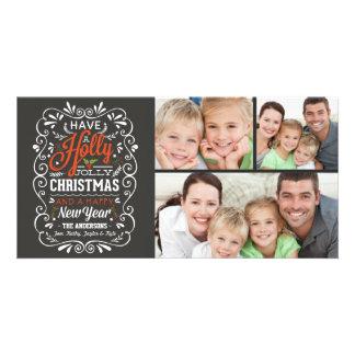 Haben Sie eine Stechpalmen-lustige Weihnachtstafel Personalisierte Foto Karte