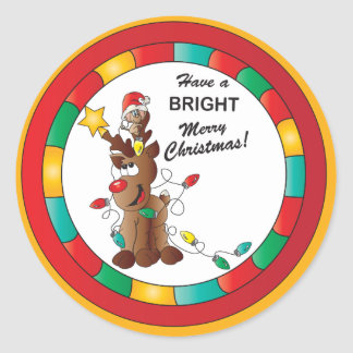 Haben Sie hellen frohen Weihnachten Runder Aufkleber
