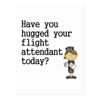 Haben Sie umarmt Ihrem Flugbegleiter Postkarte