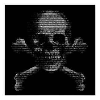 Hacker-Totenkopf mit gekreuzter Knochen Poster