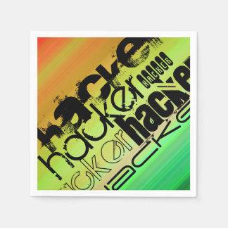 Hacker; Vibrierendes Grünes, orange u. Gelb Papierservietten